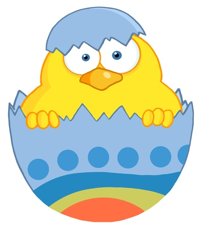 Surprise Yellow Chick Peeking Out Of An Easter Egg Vector