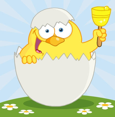 Happy Yellow Chick Peeking Out Of An Egg And Ringing A Bell Stock Vector - 12776340