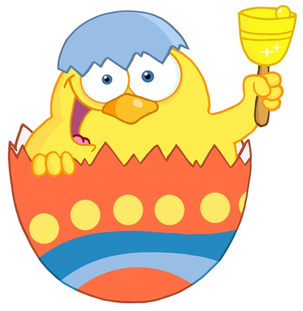 baby chicken: Happy Yellow Chick Peeking Out Of An Easter Egg And Ringing A Bell Illustration