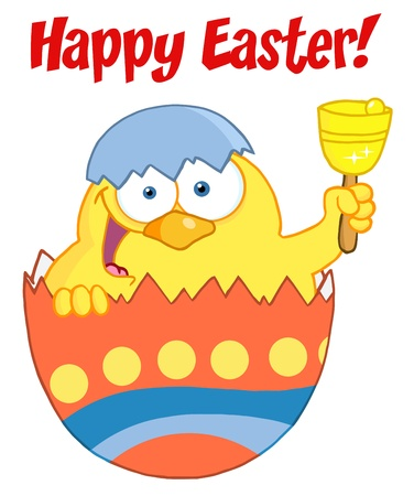 Happy Easter Text Above A Yellow Chick Peeking Out Of An Easter Egg And Ringing A Bell Vector