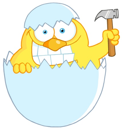 damaged: Yellow Chick With A Big Toothy Grin, Peeking Out Of An Egg Shell With Hammer Illustration
