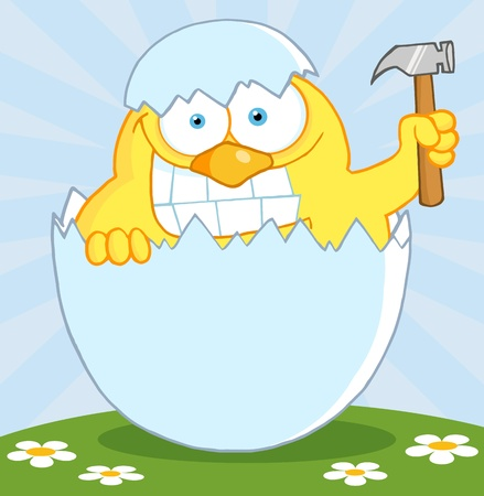 Yellow Chick With A Big Toothy Grin, Peeking Out Of An Egg With Hammer Vector