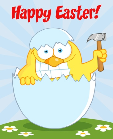 Happy Easter Text Above A Chick With A Big Toothy Grin, Peeking Out Of An Egg With Hammer Vector