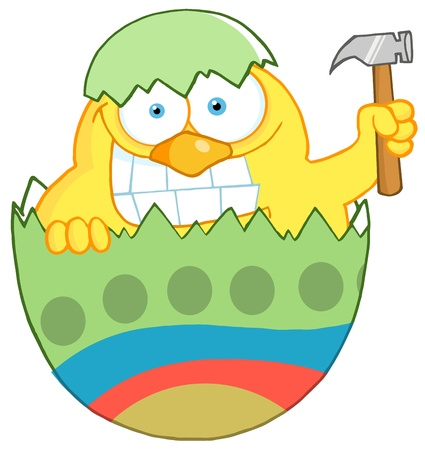 peek: Happy Chick With A Big Toothy Grin, Peeking Out Of An Easter Egg With Hammer