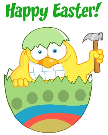 april clipart: Happy Easter Text Above A Chick Peeking Out Of An Easter Egg With Hammer