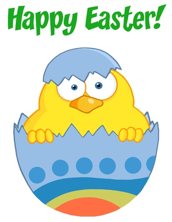 april clipart: Happy Easter Text Above A Surprise Yellow Chick Peeking Out Of An Easter Egg