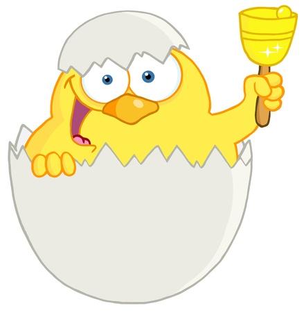 Felice pulcino giallo Sbirciando da un uovo e suonare un campanello Archivio Fotografico - 12776317