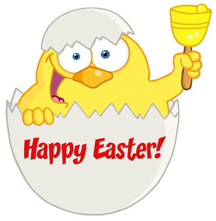 broken egg: Happy Yellow Chick Peeking Out Of An Egg And Ringing A Bell Illustration