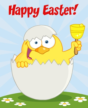 Happy Easter Text Above A Yellow Chick Peeking Out Of An Egg And Ringing A Bell Vector
