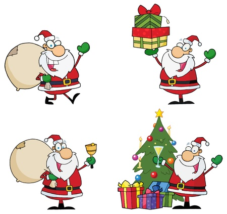 Santa Claus Cartoon Characters  Raster Illustration  Vector Collection Stock Vector - 12776385