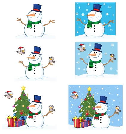 Friendly Snowman With A Cute Birds  Vector Collection Vector