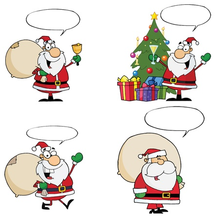 Santa Claus Cartoon Characters With Spech Bubble  Vector Collection Stock Vector - 12776394