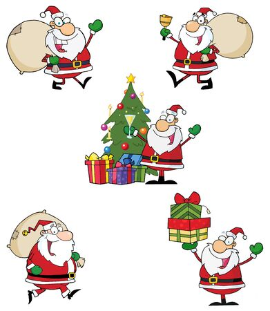 Santa Claus Cartoon Style Characters  Vector Collection Vector