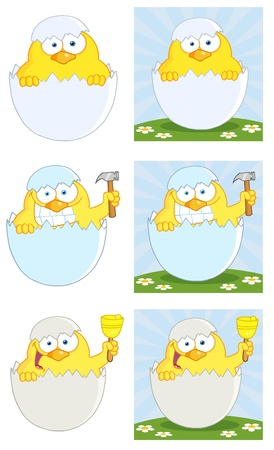 Yellow Chick Peeking Out Of An Egg Shell  Vector Collection Stock Vector - 12776390