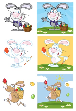 Bunny With Easter Eggs And Basket  Vector Collection Vector