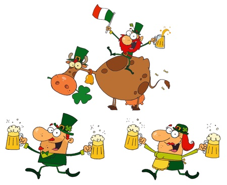Happy Green Leprechauns Dancing With Cow  Vector Collection Vector