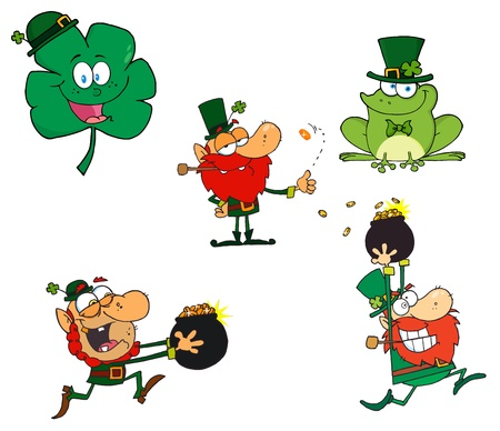 st paddys day: Leprechaun Characters  Vector Collection