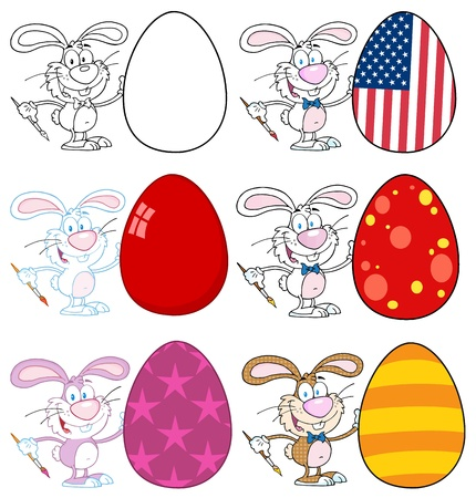 Happy Rabbit Painting Easter Eggs  Vector Collection Vector