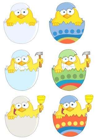 Happy Yellow Chick Peeking Out Of An Easter Egg  Vector Collection