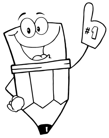 coloring book page: Outlined Pencil Guy Wearing A Number One Glove Illustration