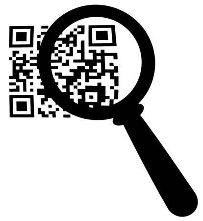 Magnifying Glass Zooming In On A QR Code Stock Vector - 12776370