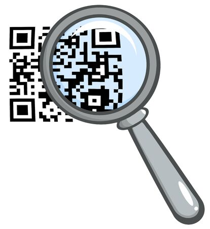 Magnifying Glass Zooming In On A QR Identification Code  Raster Illustration Illustration