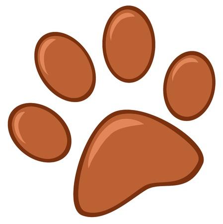 paw print: Impresi�n de la pata de Brown Vectores