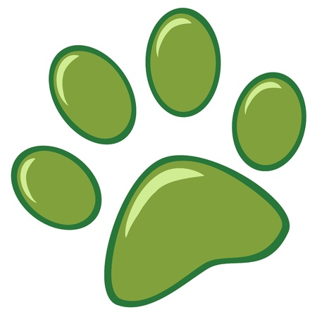 Green Paw Print Vector