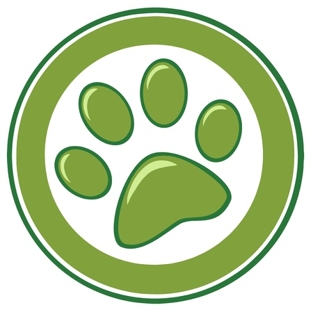 dog paw: Green Paw Print Banner Illustration