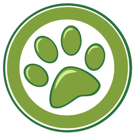 Green Paw Print Banner Vettoriali