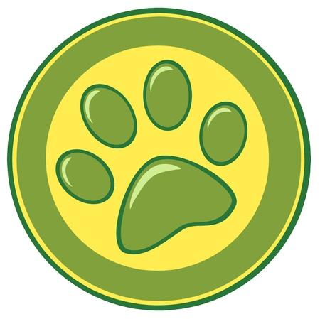 huellas de perro: La pata de la bandera de impresión Vectores