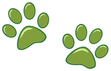 dog paw: Green Paw Prints Illustration