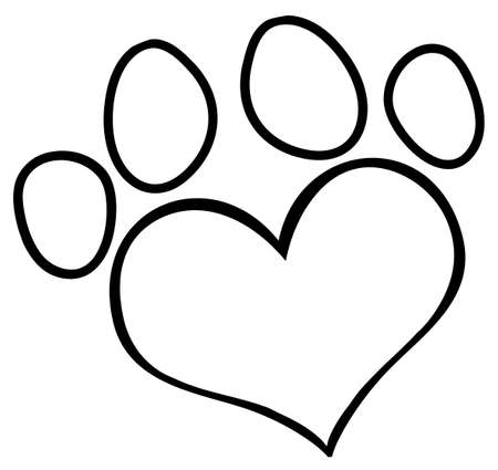 Outlined Love Paw Print Illustration