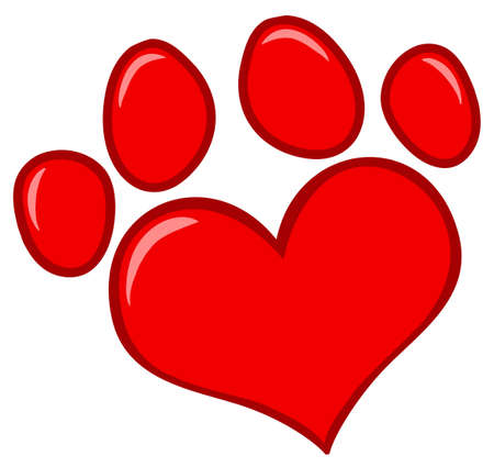 veterinary symbol: Love Paw Print Illustration