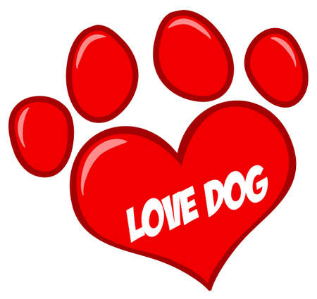 veterinarian symbol: Love Paw Print With Text Illustration