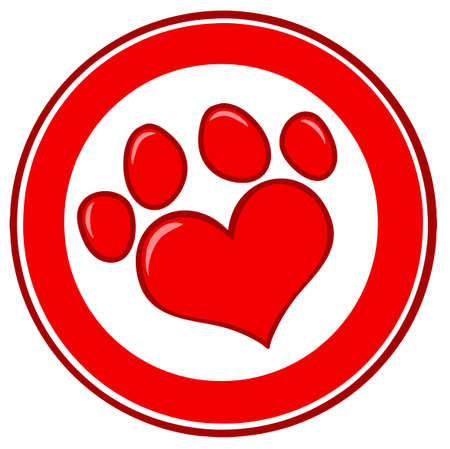 puppy love: Love Paw Print Banner Illustration