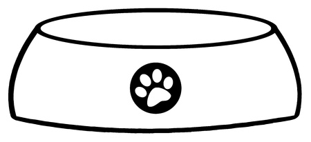 Outlined Empty Dog Bowl Vector
