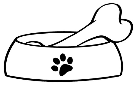 Outlined Dog Bowl With Big Bone Vector