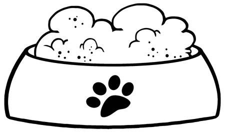 Geschetst Dog Bowl Met Voedsel Vector Illustratie