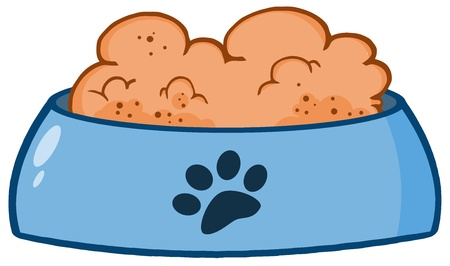 cartoon dog: Dog Bowl With Food Illustration