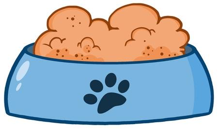 perro caricatura: Perro recipiente con los alimentos