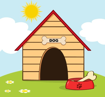 outside the house: Dog House With Bowl On A Hill