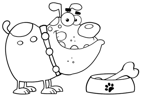 Outlined Bulldog With Bowl And Bone Illustration