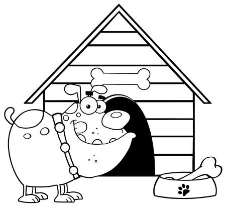 Geschetste Bulldog Met Kom en Been In De Voorkant Van Zijn Dog House Stock Illustratie