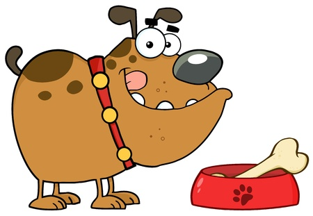 Happy Bulldog With Bowl And Bone Illustration