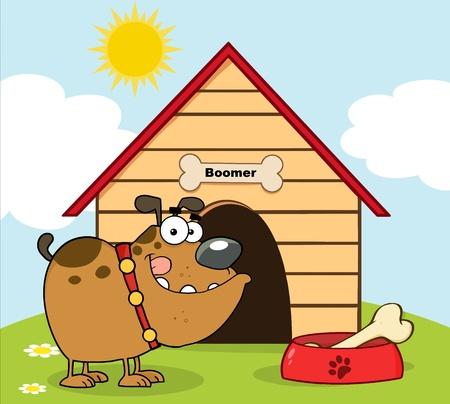 casa de perro: Bulldog feliz con taz�n de fuente y hueso en frente de su casa para perros
