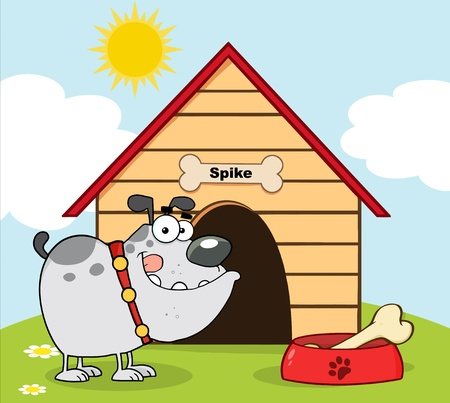 dog kennel: Happy Gray Bulldog With Bowl And Bone In Front Of His Dog House