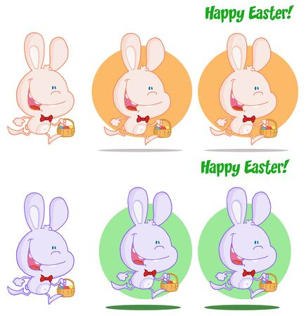 Cute Bunny Running With Easter Eggs Different Colors  Collection Stock Vector - 13068295