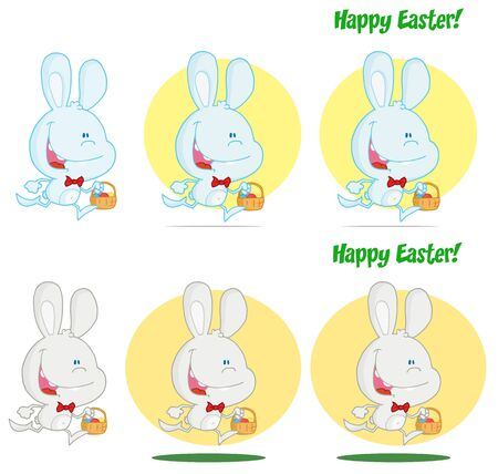Happy Bunny Running With Easter Eggs Different Colors  Collection Stock Vector - 13068166