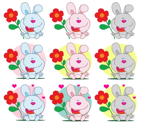Bunny Holding A Flower Different Colors  Collection Vector